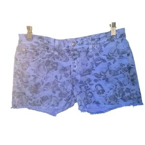 Bench all over logo print colored denim shorts